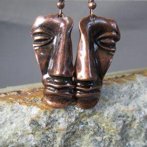 Copper Earrings  FACES  Primitive Mask Design